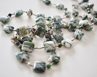 Moss AGATE Necklace with Sterling Silver Beads