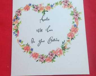 Auntie, With Love On Your Birthday Card, Floral Auntie Card, Birthday Wishes For Aunt, Aunty Birthday, Flowers For Auntie, Family Cards,