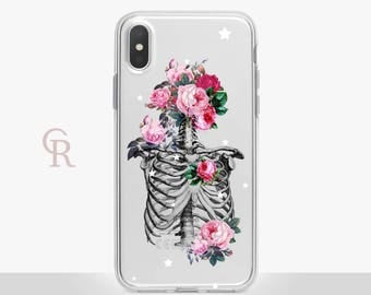 Bones Clear Phone Case - Clear Case - For iPhone 8 - iPhone X - iPhone 7 Plus - iPhone 6 - iPhone 6S iPhone SE Transparent Samsung S8 Floral