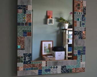 Mosaic Mirror with Green, Blue, and Copper