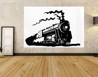 """TRAIN, Paintings on canvas, Large PAINTINGS, """" 30"""" to 80"""" Modern, Train Wall Art Original painting, contemporary LUXURY ,By - Jerry Titan"""