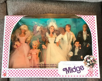 New In Box Vintage 1990 Barbie Midge Wedding Party Set, 6 Dolls, Kelly, Ken, Mattel