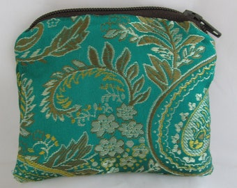 Small DarkGreen and Gold Brocade and Satin Coinpurse Coin Purse Pendulum Crystals Dice Miniatures Zipper Bag Pouch Fancy