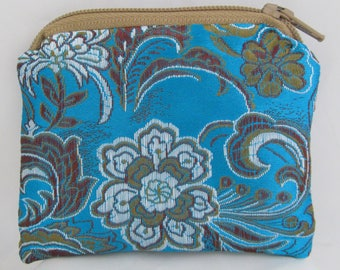Small Blue, Brown and White Floral Print Brocade and Satin Coinpurse Coin Purse Pendulum Crystals Zipper Bag Pouch Fancy