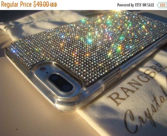 Sale iPhone 7 Plus Case Clear Diamond Rhinestone Crystals on Transparent Clear Case. Velvet Pouch Included, Genuine Rangsee Crystal Cases