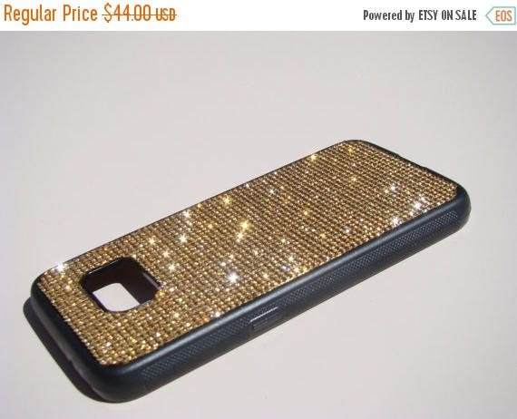 Sale Galaxy S7 Gold Topaz Crystals on Black Rubber Case. Velvet/Silk Pouch Bag Included, Genuine Rangsee Crystal Cases.