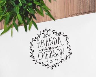 Custom Personalized Wedding Rubber Stamp Anniversary Wreath Stamp Names and Date, Save the Date Stamp Favor Tag Stamp Wood Self Inking #S009
