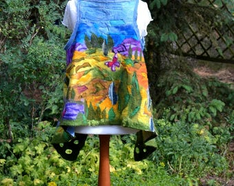 Nuno Felted Vest Provence. Felted Wearable Fiber Art Clothing. Sleeveless Boho Nuno Felt Jacket. Art Clouting