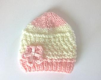 Newborn baby bonnet 0/3 months pink ecru hand made wool hand knitted