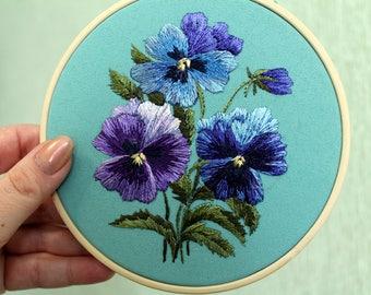 Ultra violet Embroidery hoop art Pansies embroidery Purple pansies Pansies gift Ultra violet art Ultra violet gifts Ultra violet flower