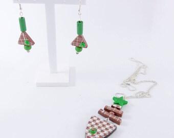 """Green fish"" set: Earrings + pendant"