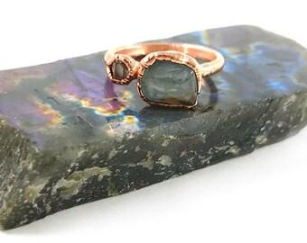 Aquamarine and Herkimer Diamond Ring, Raw Stone, Raw Crystal, Electroformed Ring, Rose Gold, Blue Gemstone, Healing, March Birthstone