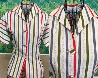 Vintage 1950s Blouse - White Striped Cotton Top - XS S