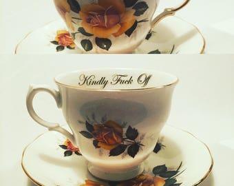 Customizable insult  cheeky tea cups