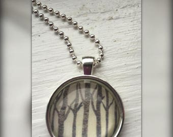 Birch Trees Art Pendant and Chain Necklace- Original Painting Domed Glass Silver Pendant Handmade