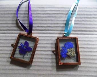 "Mini Pressed Flower Pictures: ''Cornflower"" or ""Larkspur"". Hand-made, unique pressed flower art."