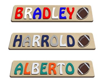 Personalized Wooden Kids Name Puzzle With Football and Team Colors Start Your Baby Young Customize This Puzzle For Your Team id243746888