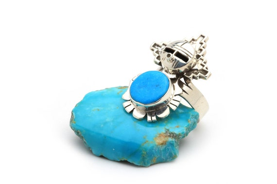 ONE OF A KIND! Lg Kachina Genuine Natural Navajo Handmade Turquoise & Sterling Silver Ring Native American jewelry, bohemian beach wedding.