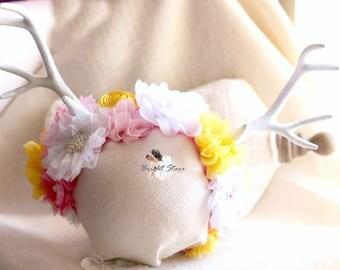 Easter headband - deer headband antlers - deer ears headband - antler headband - girls flower headbands - headband antlers - flower headband