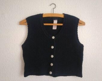 Navy Blue vintage knit vest bolero stitch retro sleeveless jacket