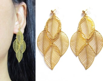 Gold Leaf Clip On Earrings |30B| Fall Autumn Layered Tiered Leaves Clip Earrings Statement Long Clip-ons Bridal Wedding Clip On Earring