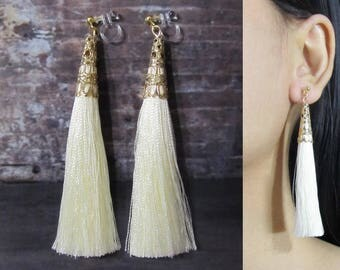 Ivory Cream White Tassel Clip On Earrings |35T| Boho Clip On Earrings, Dangle Long clip Earrings, Gold Statement Invisible Clip-ons Earrings