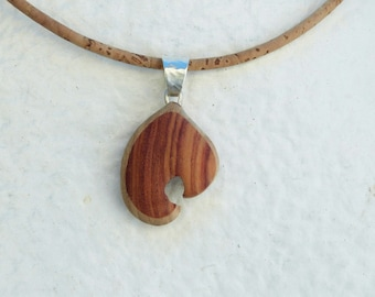 "Necklace ""claw"" Rosewood carved on Cork, wood, precious and sterling silver"
