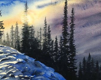 Winter landscape, snowy landscape, Pacific Northwest, pine trees, cascade mountains, mountain sunrise, PNW watercolor, Winter trees, pines