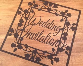 Wedding Invitation  Paper Cutting Template - Commercial Use