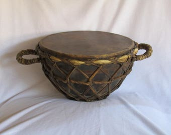 old metal & leather African Musical Instrument Drum, African decor, Ritual drum, African musical instrument, tribal musical imstrument.