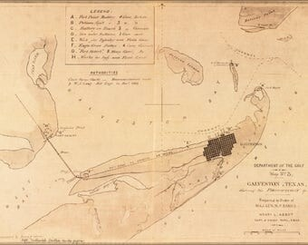 Poster, Many Sizes Available; Map Of Galveston, Texas 1862