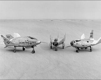 Poster, Many Sizes Available; Three Lifting Bodies On Lakebed (X-24A, M2-F3, Hl-10) 1969
