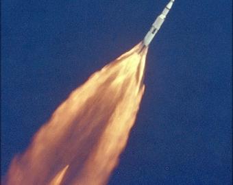 Poster, Many Sizes Available; Apollo 11 Saturn V Rocket Climbs Toward Orbit Moon Landing