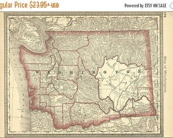 40% OFF SALE Poster, Many Sizes Available; Map Of Washington State 1881