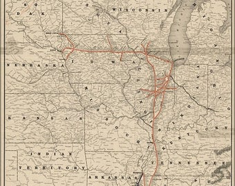 40% OFF SALE Poster, Many Sizes Available; Map Of Illinois Central Railroad 1892