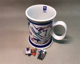 1994 Olympics Lillehammer Norway Porsgrund Mug and Two Pins