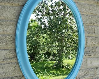 Aqua blue wall oval mirror. (bathroom mirror, vanity mirror, shabby chic mirror, nursery mirror,)