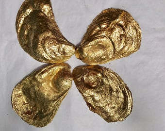 50 Large Flat Side Gold Painted Oyster Shells 2.5-4 Inches Long  from Cape Cod Great For Escort Cards Coastal and Holiday Decor