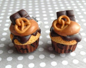 """Earrings """"leopard pretzel cupcakes and chocolate"""""""