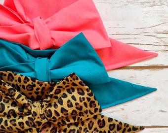 Gorgeous Wrap Trio (3 Gorgeous Wraps)- Coral, Teal & Coco Cheetah Gorgeous Wraps; headwraps; fabric head wraps; bows