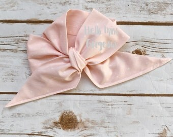 PINK SUGAR Gorgeous Wrap- headwrap; fabric head wrap; head wrap; boho; newborn headband; baby headband; toddler bow