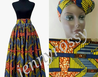 African clothing, Ankara Maxi skirt and headwrap, African headtie and skirt
