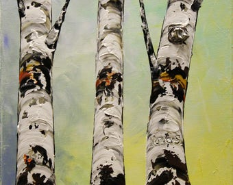"""Original Textured Birch Painting by Nata, Tree Artwork, Palette Knife, Acrylic Birch Tree Painting, Modern Home Office Wall Decor 12"""" x 12"""""""
