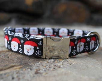 Santa Collar, Christmas Dog Collar, Holiday Dog Collar, Christmas Collar, Fabric Dog Collar, Pet Collar, Large Dog Collar, Small Dog Collar