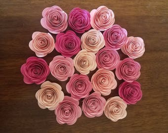 Paper Flowers, Rolled Paper Flowers, Blush Pink Paper Roses, Wedding Decorations, Spiral Paper Flowers, Shower Decorations, Rosettes