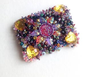 Purple beaded brooch for bag purple red beaded bag blue black brown brooch gift for her red handmade jewelry gifts for Mom yellow flowers