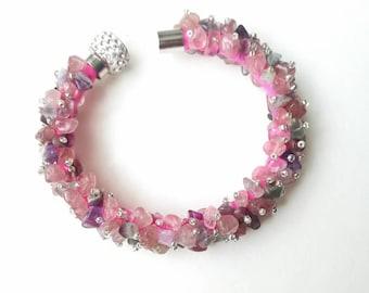 Strawberry quartz bracelet purple pink strawberry quartz ametisty fluorite exclusive handmade high quality gift for her, gemstones bracelet