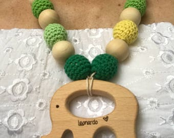 Collana Allattamento personalizzata Teething Necklace Newborn Baby with Toy Babywearing Nursing Breastfeeding Eco friendly wooden chewable M