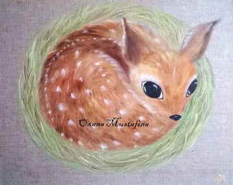 "Acrylic painting ""The little Fawn Bambi"""