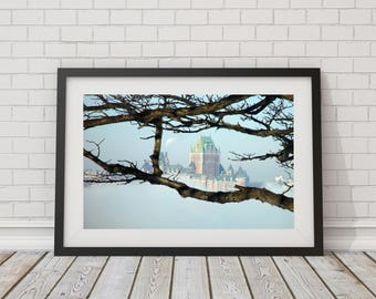 Urban Architecture Travel photography Quebec City in the Mist Château Frontenac Photography Instant download Wall art decor 8x10